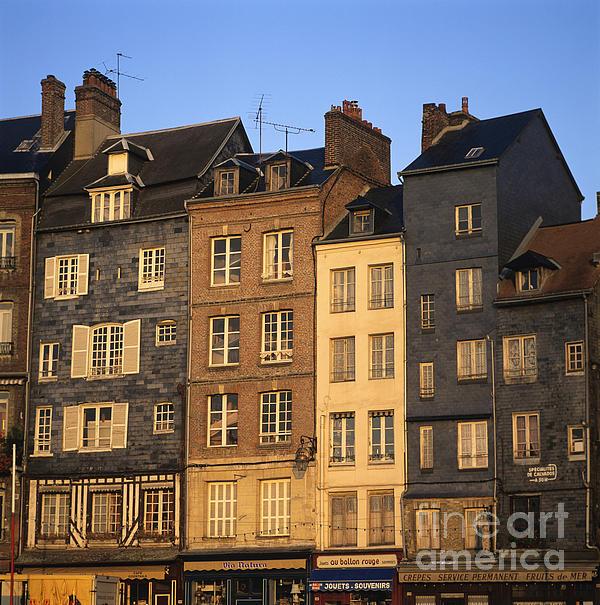 Row Of Houses. Honfleur Harbour. Calvados. Normandy. France. Europe Print by Bernard Jaubert