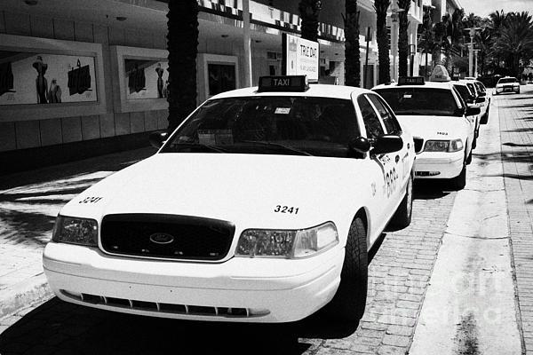 Row Of Yellow Cab Taxis In Miami South Beach Florida Usa Print by Joe Fox