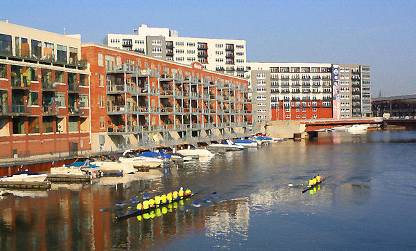 Rowers Milwaukee River 2 Print by Geoff Strehlow