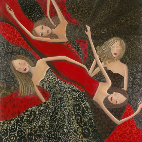 Ruby Red Satin And Thread Print by Denise Daffara