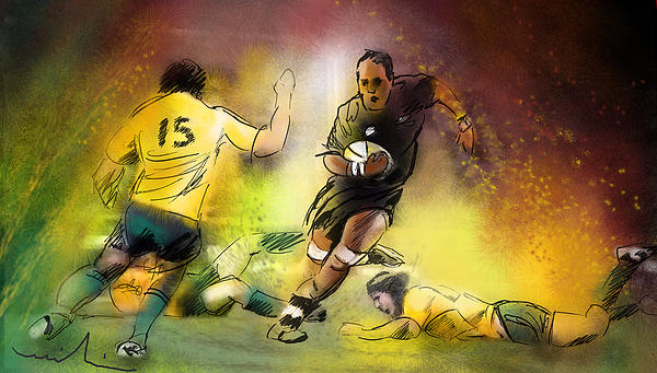 Rugby 01 Print by Miki De Goodaboom