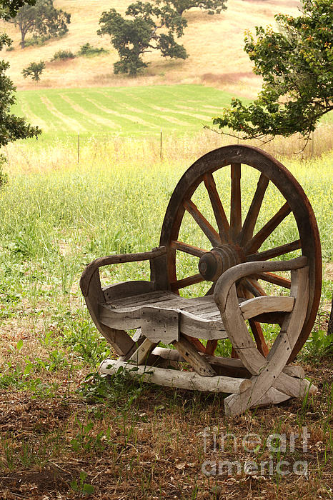 Rural Wagon Wheel Chair Print by Art Block Collections
