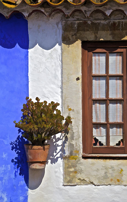 Rustic Brown Window Of The Medieval Village Of Obidos Print by David Letts