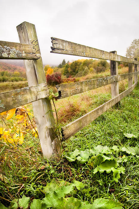 Rustic Landscapes - Broken Fence Print by Gary Heller