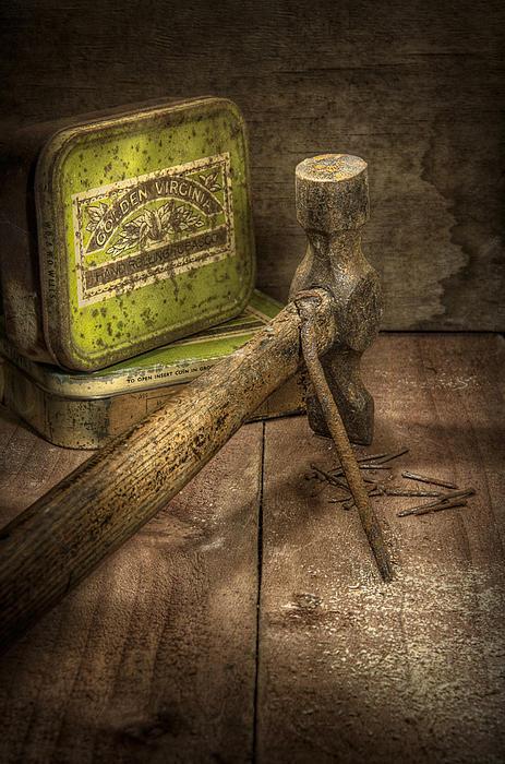 Rusty Nail And Hammer Print by Ian Barber