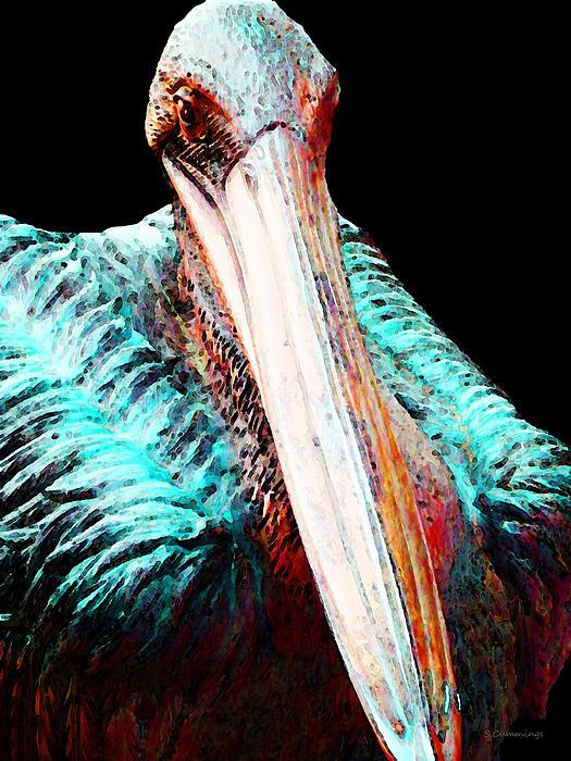 Rusty - Pelican Art Painting Print by Sharon Cummings