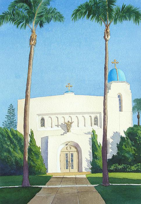 Sacred Heart Church Coronado Print by Mary Helmreich