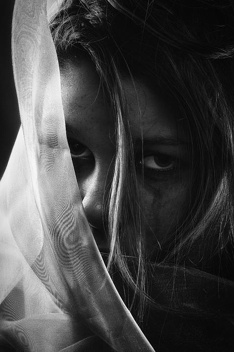Sad Girl Bw Print by Erik Brede
