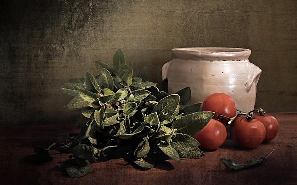 Sage And Tomatoes Print by Hugo Bussen