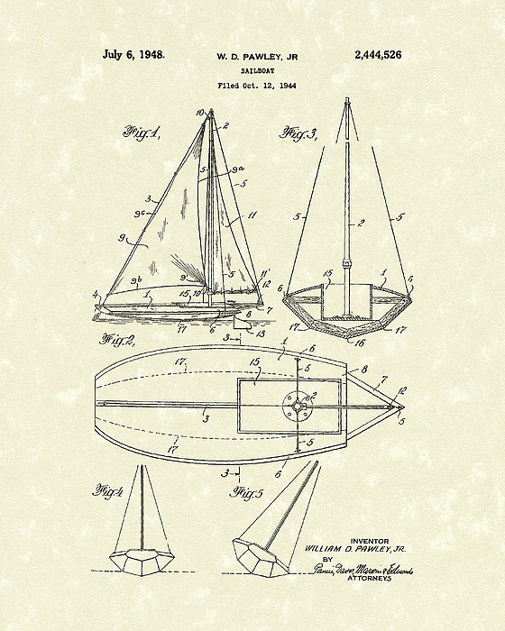 Sailboat 1948 Patent Art Print by Prior Art Design
