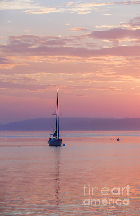 Sailboat At Sunrise In Casco Bay Maine Print by Diane Diederich