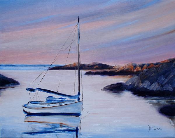 Sailboat Reflections I Print by Donna Tuten