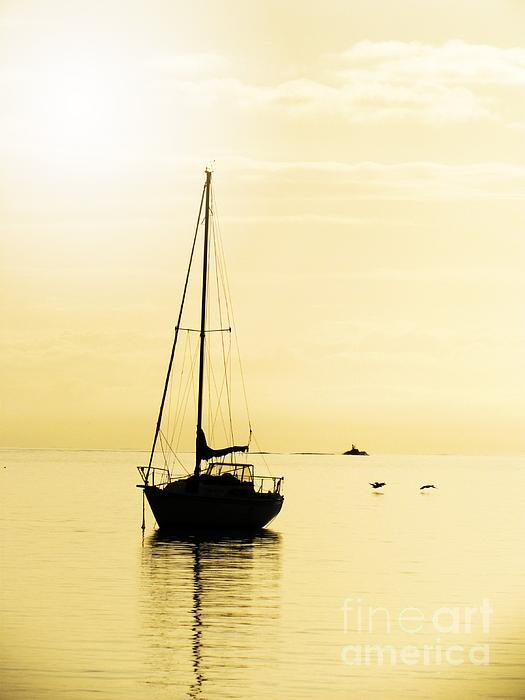 Sailboat With Sunglow Print by Barbara Henry