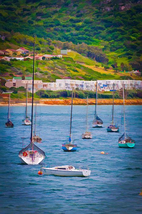 Sailboats At Simons Town Print by Cliff C Morris Jr
