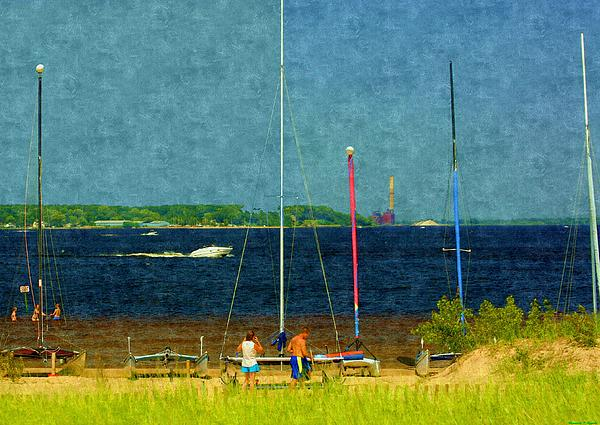 Sailboats Beached Print by Rosemarie E Seppala