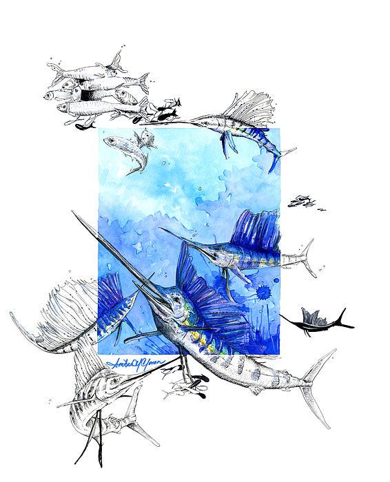 Sailfish Swagger Print by Amber M  Moran