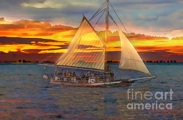 Sailing At Sunset Print by Jeff Breiman