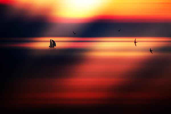 Sailing Boat In The Sunset Print by Marek Czaja