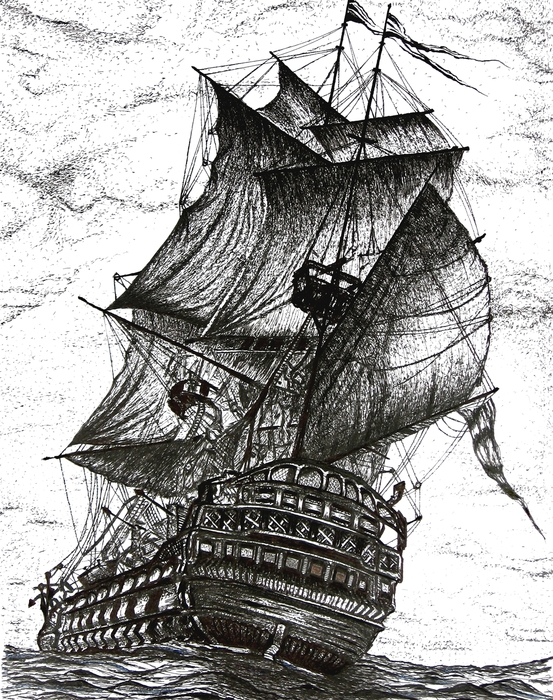 Mario  Perez - Sailing Drawing Pen and Ink in Black and White
