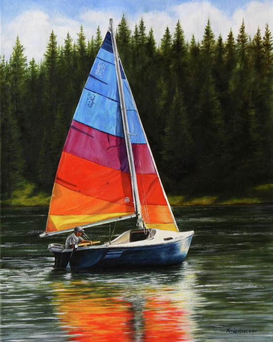 Sailing On Flathead Print by Kim Lockman