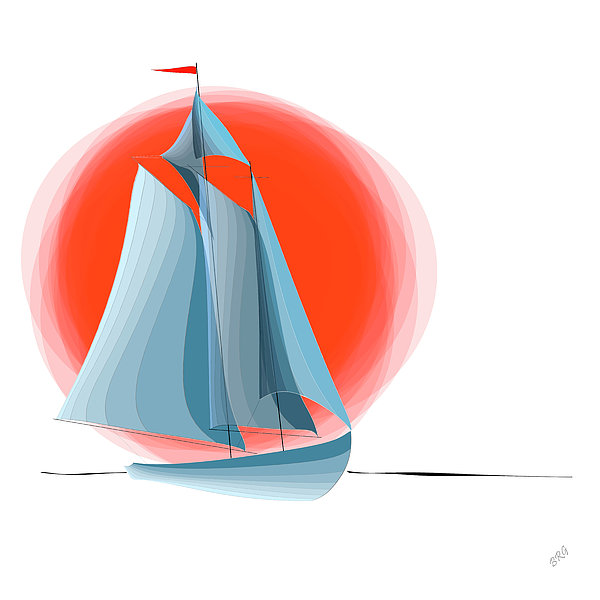 Sailing Red Sun Digital Art