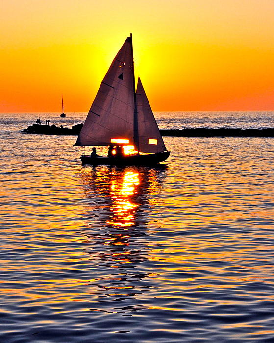 Sailing Silhouette Print by Frozen in Time Fine Art Photography