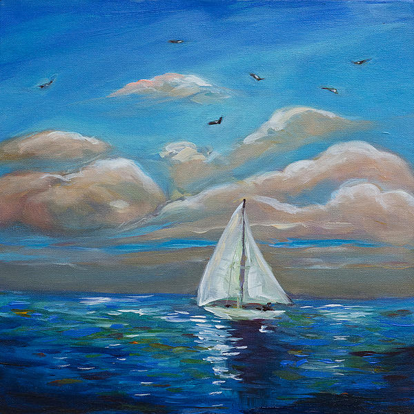 Sailing With My Dad Print by Linda Olsen