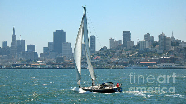 Sailors View Of San Francisco Skyline Print by Connie Fox