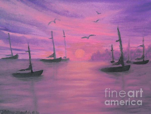 Sails At Dusk Print by Holly Martinson