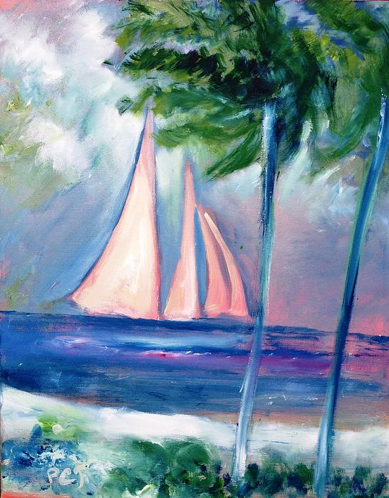 Sails In The Sunset Print by Patricia Taylor