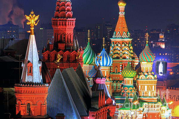Saint Basils Cathedral On Red Square In Moscow Print by Lars Ruecker
