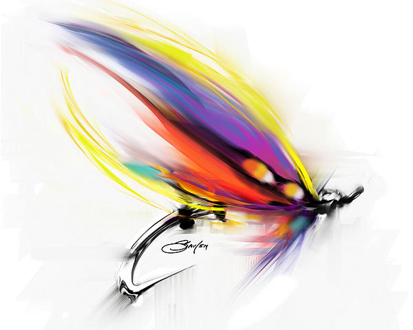 Salmon Fly Pattern Art - Savlen Special Print by Mike Savlen