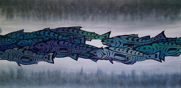 Salmon Passing Print by Carolyn Doe
