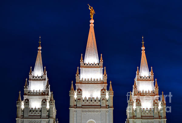 Salt Lake Lds Mormon Temple At Night Print by Gary Whitton