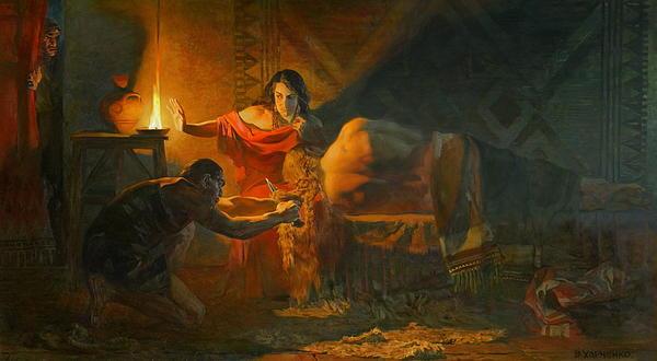 Samson And Dalida Print by Victoria Kharchenko
