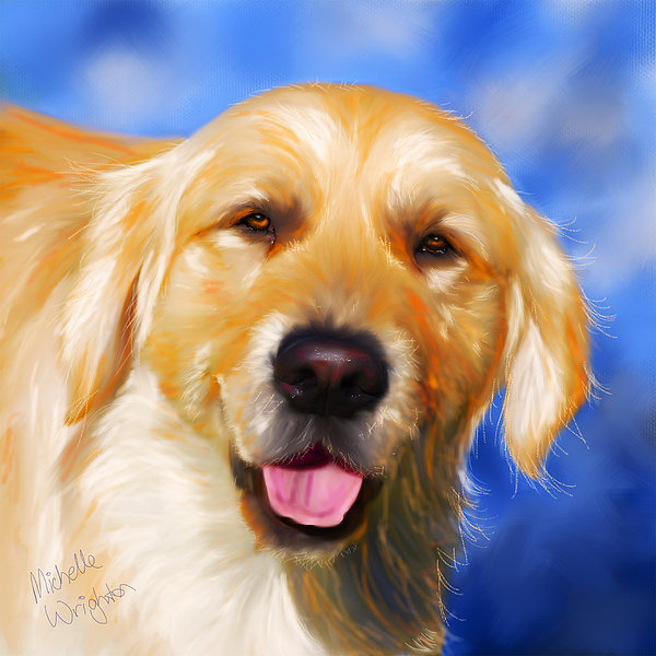 Happy Golden Retriever Painting Print by Michelle Wrighton