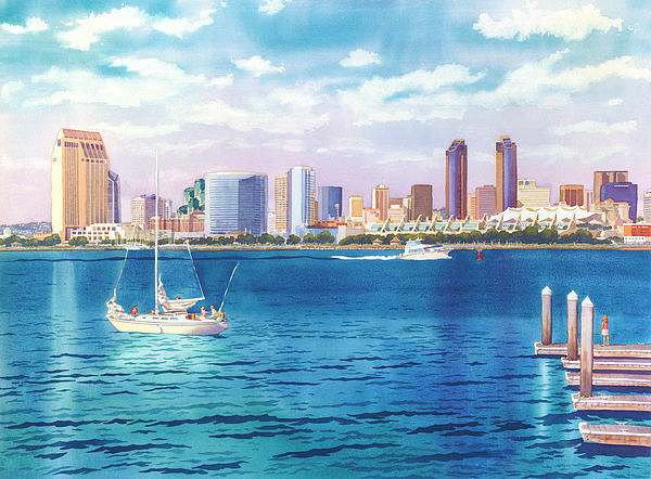 San Diego Skyline And Convention Ctr Print by Mary Helmreich
