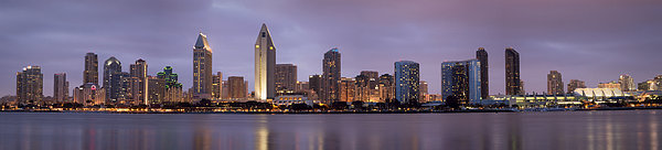 San Diego Skyline At Dusk Panoramic Print by Adam Romanowicz