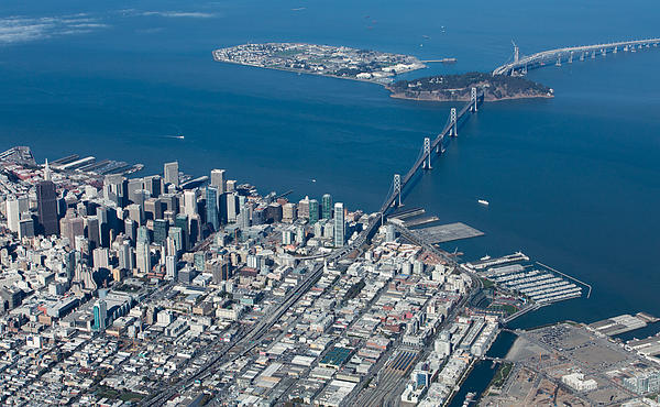 San Francisco Bay Bridge Aerial Photograph Print by John Daly