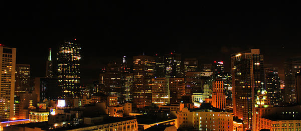 San Francisco By Night Print by Cedric Darrigrand