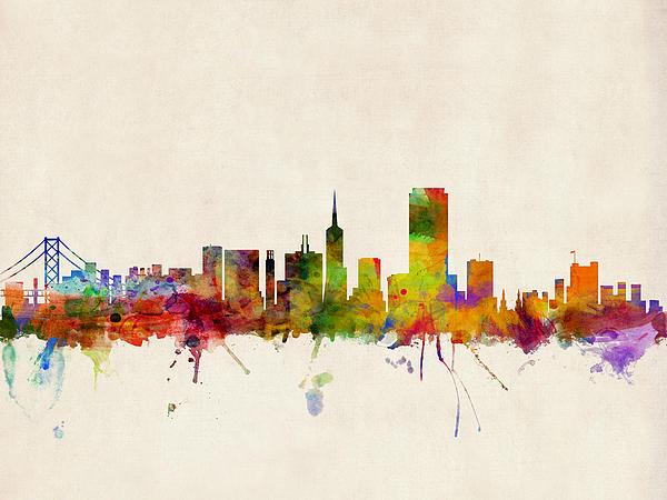 San Francisco City Skyline Print by Michael Tompsett