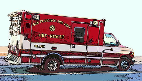 San Francisco Fire Dept. Medic Vehicle Print by Samuel Sheats