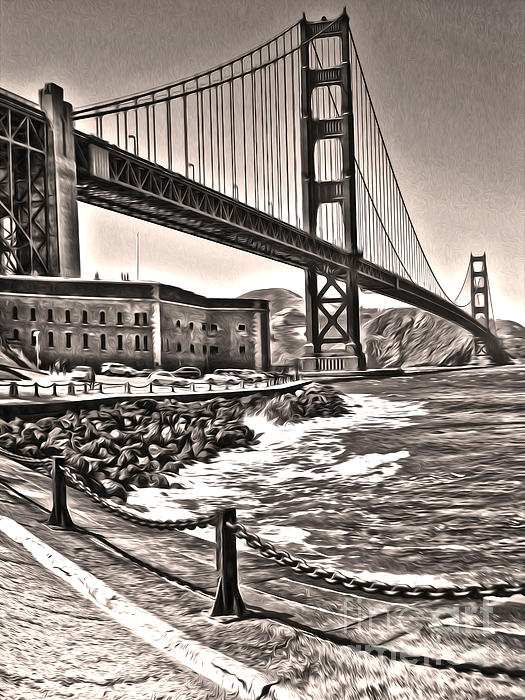 San Francisco - Golden Gate Bridge - 10 Print by Gregory Dyer