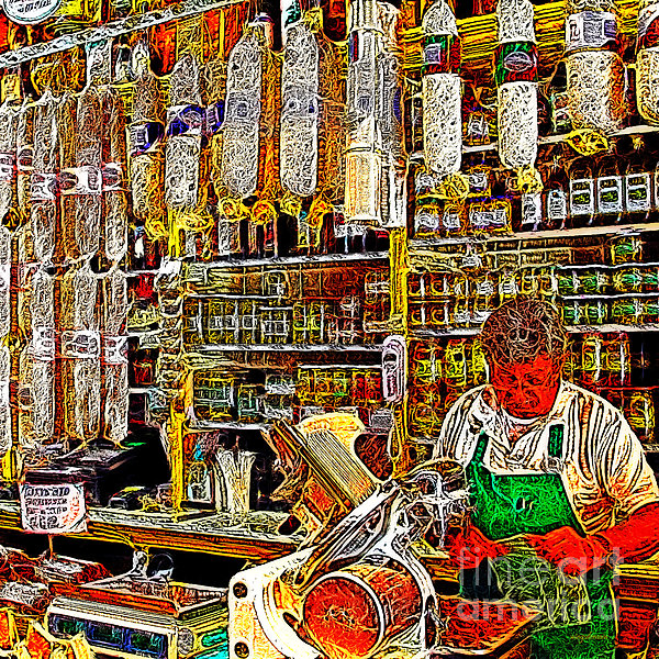 San Francisco North Beach Deli 20130505v2 Square Print by Wingsdomain Art and Photography