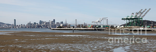 San Francisco Skyline And The Bay Bridge Through The Port Of Oakland 5d22238 Print by Wingsdomain Art and Photography