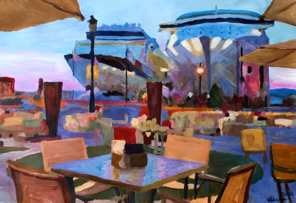 San Juan Cafe Terrace With Cruise Ships Print by M Bleichner