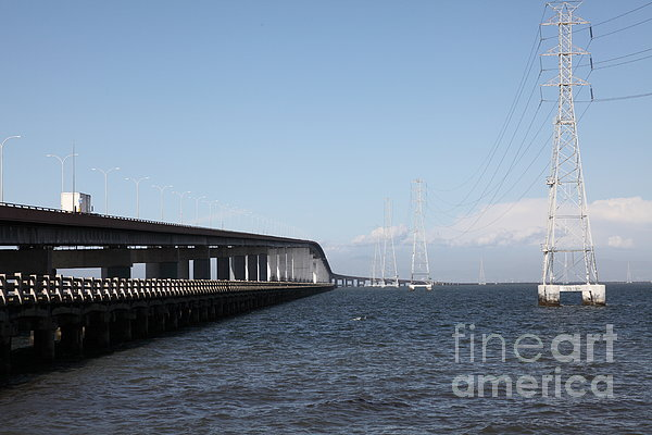 San Mateo Bridge In The California Bay Area 5d21893 Print by Wingsdomain Art and Photography