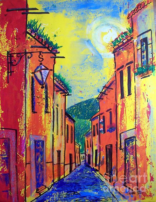 San Miguel Narrow Street Print by Cristiana Marinescu