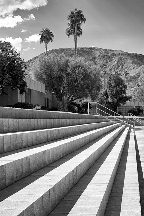 Sandpiper Stairs Bw Palm Desert Print by William Dey