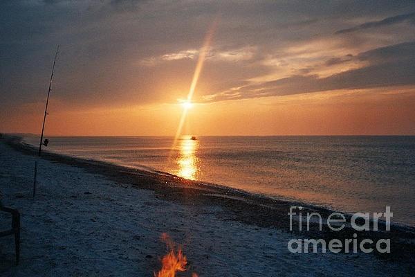 Sandy Neck Beach Sunset Print by Lisa  Marie Germaine